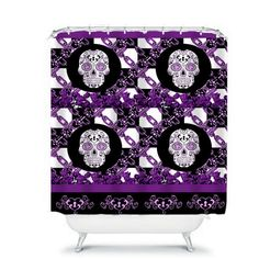 Sugar Skull Shower Curtain Skull and Chain Gothic by FolkandFunky