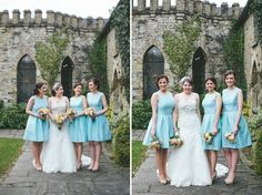 Bride and Bridesmaids in Duck Egg Blue