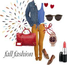 "FASHION. Mustard yellow pants. Leopard. Cheetah flats. Fall fashion. Jean jacket.   ""fall fashion"" by lalie-a on Polyvore"