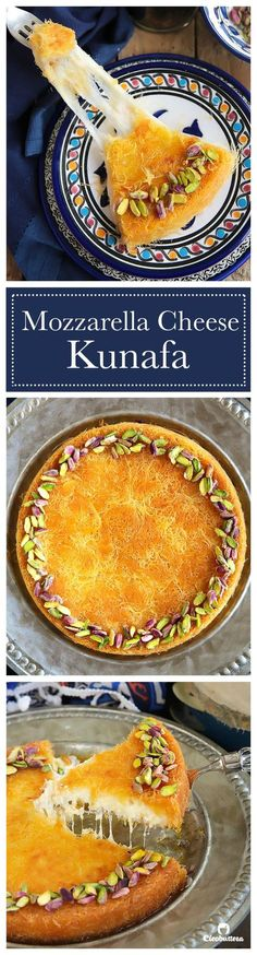 """Food Illustration Description This may not be certified """"authentic"""" cheese kunafa, but it might just become your new favorite! A simple trick keeps the cheese filling from hardening even after it cools. Lebanese Desserts, Lebanese Recipes, Turkish Recipes, Lebanese Cuisine, Persian Recipes, Ethnic Recipes, Arabic Dessert, Arabic Sweets, Arabic Food"""