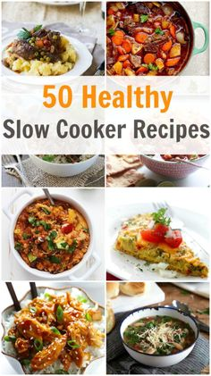 50 Healthy Slow Cooker Recipes - Some of these recipes are also vegetarian, gluten free, low carb, low fat, warm, filling and of course very satisfying!! primaverakitchen.com