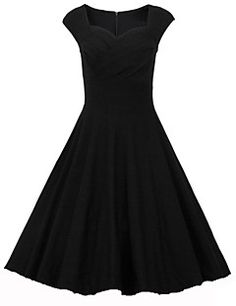 Damen Kleid - A-Linie Retro   Party Solide Knielang Baumwolle   Elasthan  Sweetheart Bekleidung 761a455bb4