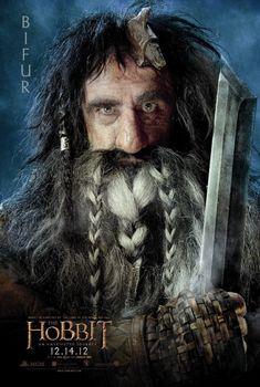 Bifur, cousin of Bofur and Bombur. He has an axe stuck in his head and speaks only Dwarvish. He is portrayed by William Kircher.
