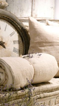 vintage linens and clock