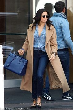 Meghan Markle wearing Saint Laurent Sac De Jour Bag in Royal Blue Leather and Sarah Flint Lily Flats
