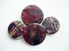 Four Awesome Shimmering Dark Cranberry Plastic by BecaliJewels (Craft Supplies & Tools, Sewing & Needlecraft Supplies, Buttons & Fasteners, Buttons, vintage, supplies, buttons, plastic, shimmering effect, cranberry, mixed colors, two different pairs, awesome buttons, jewelry component, trim, marbled, shimmering)