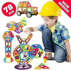 Magnetic Toys Blocks, 78 Pcs Kids Magnetic Tiles Building Blocks - Stacking Magnetix Toys. For price & product info go to: https://all4babies.co.business/magnetic-toys-blocks-78-pcs-kids-magnetic-tiles-building-blocks-stacking-magnetix-toys/