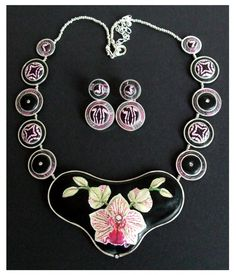 Polymer clay pietra dura necklace by Fiona Abel-Smith.