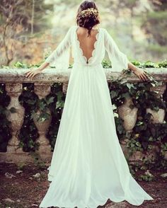 Cheap Wedding Dresses A-line Simple Ivory Appliques Chiffon Bridal Gown backless wedding dress mermaid open backs lace button wedding dresses with long sleeves White Beach Wedding Dresses, Long Gown For Wedding, Ivory Lace Wedding Dress, Backless Wedding, Wedding Dresses Plus Size, Cheap Wedding Dress, Plus Size Wedding, Wedding Party Dresses, Bridal Dresses