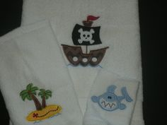 PERSONALIZED Childrens Bath Towel SET Monogrammed Pirate Theme Pirate Ship Treasure Island and Shark