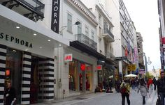 Ermou Street: With fashion shops and shopping centres promoting most international brands, it is in the top five most expensive shopping streets in Europe. Athens Hotel, Shopping Street, Shopping Center, International Brands, Street View, Europe, Fashion Shops, Pos, Hotels