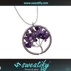 Sweatify Tree Of Life Natural Stone Pendant Necklace Wire wrap Gemstone