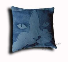 Grey Cat Cushion Cover Hand Printed £12.00