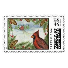 Christmas Postage Stamp Winter Cardinal