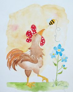 Brown Rooster. Chicken Art. Country. Farm. Honey Bee. Blue Flowers. Handpainted Watercolor. Print. SFCOFG via Etsy