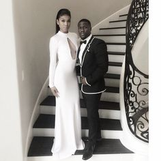 Pin for Later: Stars Give an Inside Look at the 2015 Golden Globes  Kevin Hart shared a predeparture snap with his date, Eniko Parrish.