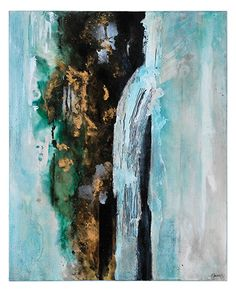 In this piece by Pierrick Paradis, hand-painted teal and turquoise merge together with high gloss, rich golds, and stark black contrasting accents.