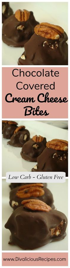 Cream cheese covered in chocolate and frozen makes a great low carb and gluten free treat.