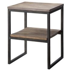 side table from target: would also give you additional storage/  Big books can be displayed horizontally or you could use decorative box Accent Table - Iron and Wood