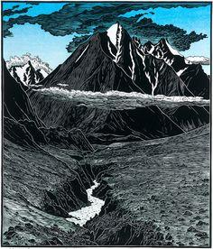 Tom Killion woodcut, Okpilak Valley, Alaska (Arctic Nat'l Wildlife Refuge)