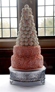 Wedding cake set up at Rhinefield House Hotel in the New Forest.... bottom 2 tiers are a 12 inch vanilla with a 10inch carrot and on the top a tower of 100 cake truffles infused with a selection of alcohol liquers