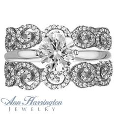 14k White, Yellow Gold or Platinum .82 ct tw Diamond Filigree Scroll Design Antique Style Ring Guard $2,850.85