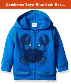 Gymboree Boys' Blue Crab Hoodie, Monterey Bay, 18-24 Months. Blue hoodie with crab graphic.