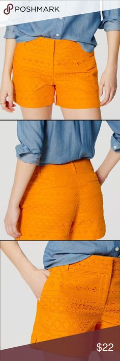 Cute Loft Shorts! NWT Lace shorts with 4 inch inseam! Color is light tangerine! PERFECT FOR SUMMER! NWT! LOFT Shorts