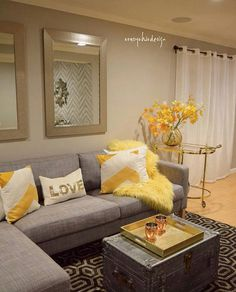 Yellow And Gray Rooms Decorating Grey Yellow Living Room