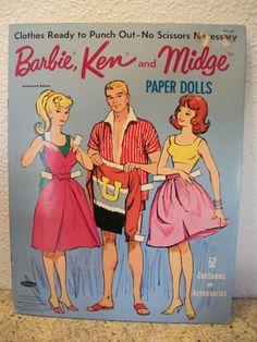 Vintage 1963 Barbie Ken & Midge Paper Dolls