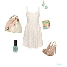 Great price on dress....cute white dress with pastels, created by tarakelly on Polyvore