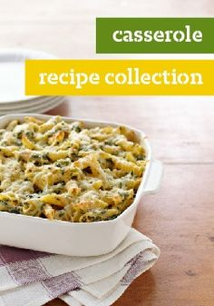 Casserole recipes, baked in a casserole dish, are hot and creamy—and usually have cheese.