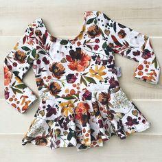 Baby Toddler Girls christmas floral long sleeve peplum leotard Gymnastic Ballet Leotard