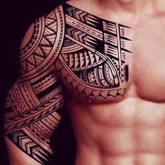Chest and arm tattoo. So sexy