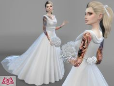 Wedding Set 2 dress   bouquet by Colores Urbanos at TSR