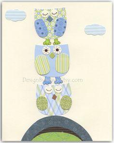 Nursery owl print, Baby boy Nursery, wall art Decor, Children Art print, owls...I prayed for this child...green blue owls. $17.00, via Etsy.
