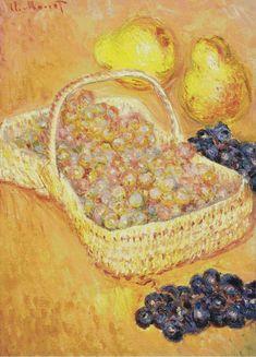 Basket Of Graphes, Quinces And Pears 1885 Claude Monet - Original Art by Artist Edouard Manet, Pierre Auguste Renoir, Famous Impressionist Paintings, Paintings Famous, Monet Paintings, Oil Painting Gallery, Lily Painting, Fruit Painting, Claude Monet
