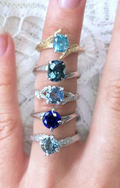 Unique blue sapphire, montana sapphire and gemstone engagement rings - by Ken & Dana Design.