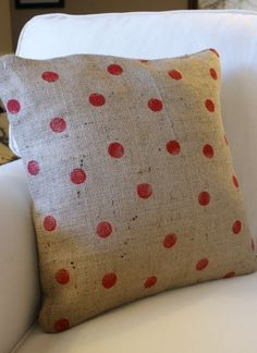 red polka dot burlap pillow