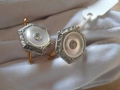 ★ Silver Lining ★ Sharing Riagr OnEtsy! - Unique Vintage platinum and 14k gold Cufflinks (cuff links) with brilliants - Christmas - Valentine's - Wedding - Anniversary -Gift for him https://www.facebook.com/agneskeh/posts/10152972307983563:0