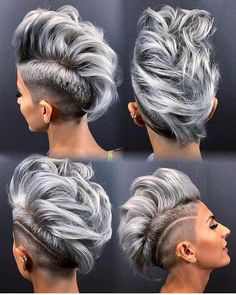 Grey hair is hot and positively not for grey mice! we love grey hair! web page positively terrific grey hair is hot and positive assumer ses cheveux gris une libration Punk Pixie Haircut, Pixie Haircuts, Haircut Style, Blonde Hair Fade Haircut, Grey Hair Mohawk, Gray Hair, Short Haircuts Women, Undercut Hair, Black Hairstyle