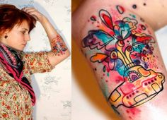 Petra Hlaváčková gives the Beatles Yellow Submarine an abstract makeover in this colorful tattoo