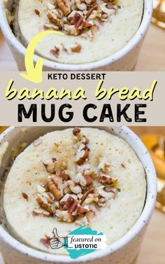 Mug cakes are quick and easy to whip up in just a few minutes. The list has 18 of the best keto mug cakes you can cook in the microwave. If you are looking for keto dessert recipes check out this list of keto mug cakes on Listotic Dessert Cake Recipes, Sweet Desserts, Snack Recipes, Cooking Recipes, Keto Desserts, Sugar Free Recipes, Low Carb Recipes, Banana Bread Mug, Quick Keto Dessert