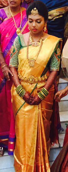 Indian wedding Telugu Bride Tamil Bride #templejwellery traditional jewellery #vaddanam Bride #tikka jhumka mango haram #bridalblouse wedding photography Bridal saree uppada silk saree