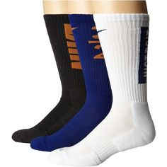 Nike Dri-Fit Fly V4 Crew 3-Pack (Multicolor) Crew Cut Socks ($22) ❤ liked on Polyvore featuring intimates, hosiery, socks, multicolor socks, dri fit socks, nike socks, ribbed socks and crew socks