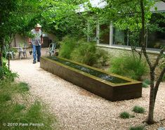 And in another courtyard formed by two wings of the house, a trough-style, negative-edge water feature adds contemporary style. Bamboo muhly grasses and possumhaw hollies soften the space.