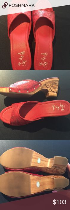 6a4c2e9b650f Shop Women s Lucky Lou Red size Sandals at a discounted price at Poshmark.