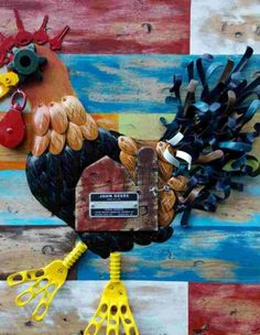 Mixed media art by Brandon Thompson serves spoonfuls of fun Dere, Mixed Media Art, Repurposed, Scrap, Objects, Things To Come, Fun, Mixed Media, Upcycling