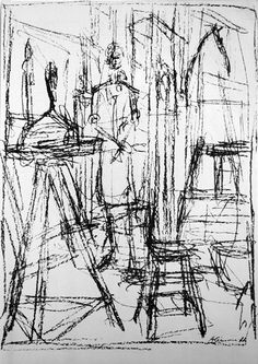 A master of line and form.  Alberto Giacometti  Anette, Horse, Stool Lithograph, 1951