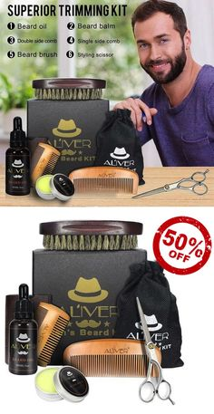 Men's Beard Grooming Kit, Containing: Beard Balm, Beard oil, double side comb, beard comb, beard brush, styling scissors.